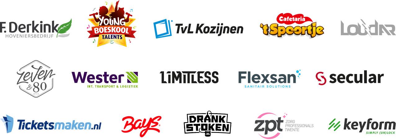 Logo ontwerp door Slize in Oldenzaal. Afbeelding met een overzicht van diverse logo designs.