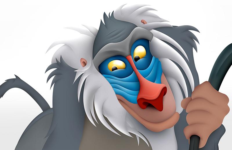 Grafisch ontwerp Slize Oldenzaal. Digital painting Rafiki Lion King