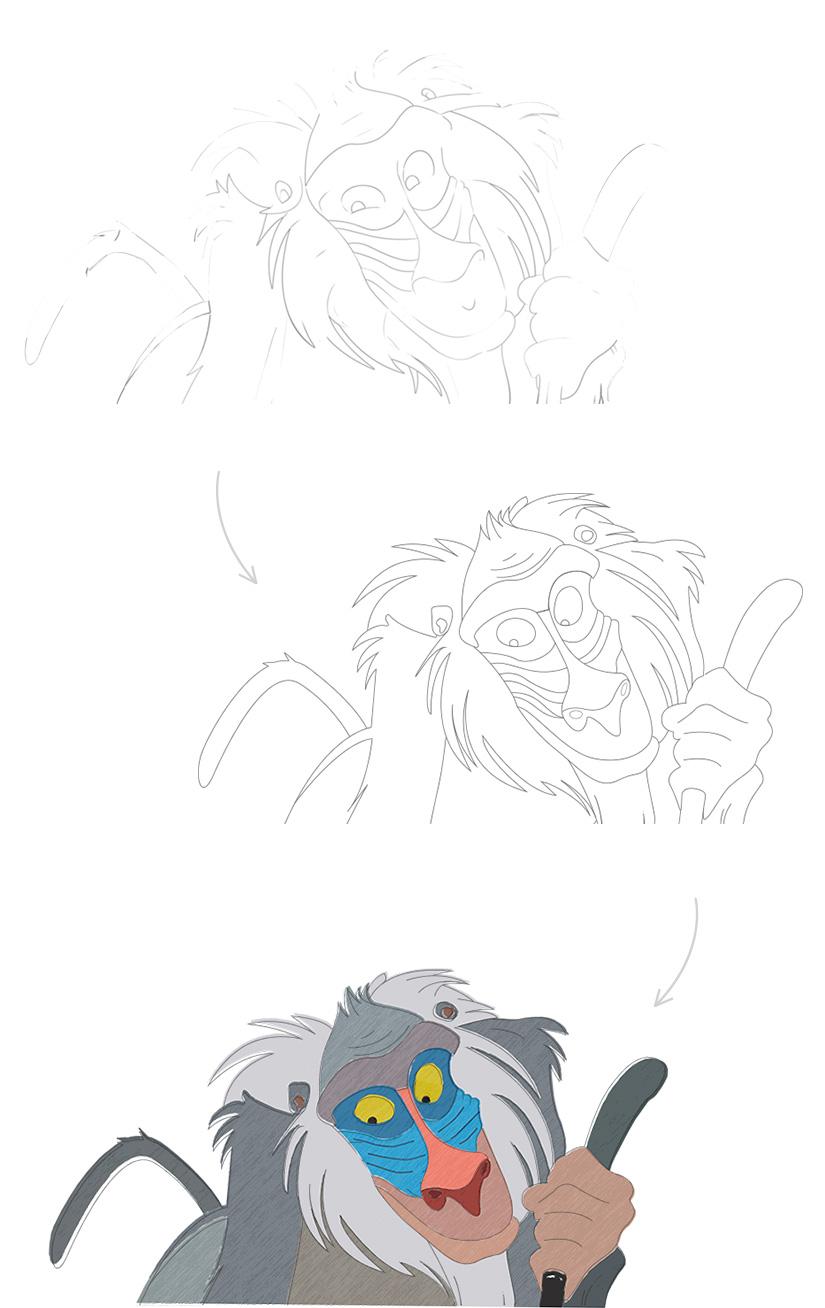 drawing rafiki digital lion king fan art 1